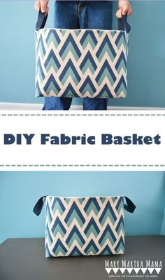 DIY Fabric Basket- How to make a fabric basket- simple, easy to follow tutorial shows how to sew your own fabric basket