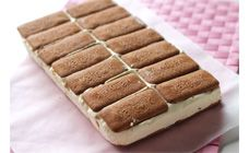 ice cream sandwich This ice cream slice uses sweetened condensed milk and can include your favourite chocolate bars or lollies. It's a perfect dessert for summer days and great to pass around at parties. Ice Cream Desserts, Ice Cream Recipes, Just Desserts, Chocolate Ice Cream Cake, Homemade Chocolate, Chocolate Bars, Chocolate Chips, Sweet Recipes, Cake Recipes