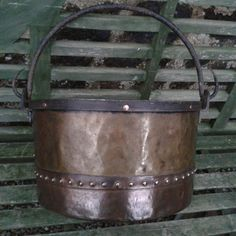 Large Antique copper log basket / cauldron