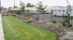 Landscaping along Melrose, security fence, and RV parking area Landscaping Along Fence, Tiny House Village, Garden Leave, Rv Travel, Sidewalk, Landscape Designs, Front Yards, Modern, Plants