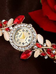 Women's Bracelet Watch Cubic Zirconia Flower Elegant Blue Red Purple Alloy Quartz Purple Orange Blue Casual Watch Imitation Diamond 1 pc Analog One Year Battery Life