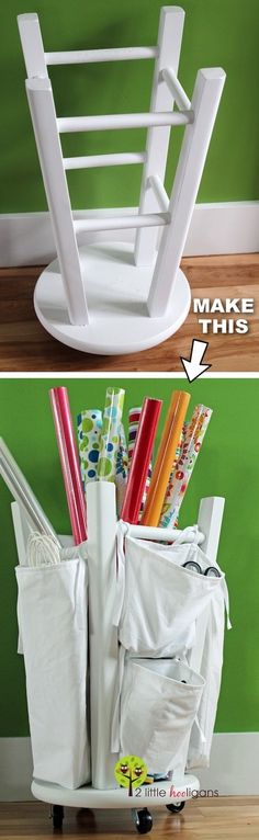 DIY wrapping paper storage idea! -- Easy DIY craft ideas for adults for the home, for fun, for gifts, to sell and more! Some of these would be perfect for Christmas or other holidays. A lot of awesome projects here! Listotic.com