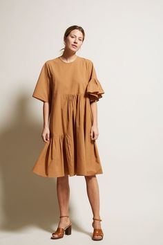Correll Correll Coco Two Dress in Bronze Cotton Simple Dresses, Casual Dresses, Short Dresses, Fashion Dresses, Coats For Women, Clothes For Women, Batik Fashion, Everyday Dresses, Muslim Fashion