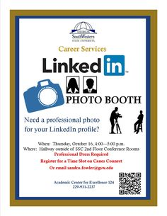"Everyone needs a professional LinkedIn photograph for their profile. After all, LinkedIn is one of the primary ways to network for job positions. Come to Career Services ""LinkedIn Photo booth"" this week on Thursday, October 16th! A professional photographer will be on campus to take head shots for your LinkedIn profile."