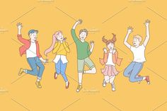 Group of happy children enjoy the holidays. Friendship Photos, Friendship Party, Jumping Poses, Family Vector, People Dancing, Cartoon People, Kid Character, Party Activities, Graphic Design Posters