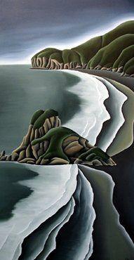 Piha & Lion Rock by Diana Adams Nz Art, Art For Art Sake, New Zealand Art, Madhubani Art, Maori Art, Irish Art, Contemporary Artwork, Amazing Art, Amazing Pics