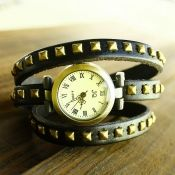 Fashion New Pointed Rivets Embellished Black Multi-layers Band Little Round Face Women Watch