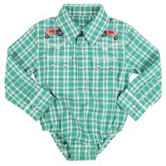 Wrangler Infant Boy's Long Sleeve Plaid Print Onesie