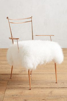 Anthropologie Shag Puff Dressing Chair #sale #anthroregistry