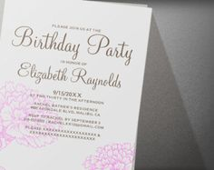 Custom Modern Pink And Brown Birthday Party Invitation