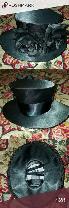 New Satin Top Hat with Flower Bow New Satin Top Hat with Flower Bow Deluxe Accessories Hats