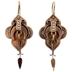 Victorian Era 12KT Gold & Black Enamel Architectural Earrings Victorian Gold, Victorian Era, Black Enamel, Black Gold, Cut Work, Rose Gold Color, Drop Earrings, Jewellery, Pearls