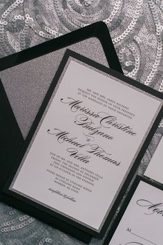 Gorgeous Black and Silver Glitter Modern Wedding Invitations by Just Invite Me