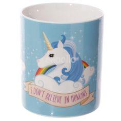 "Puckator, Mug licorne ""I don't believe in humans"" Believe, Mug Chat, Ciel Art, Homeware Uk, Gothic Kitchen, Lulu Shop, Mug Design, Gadgets, Unicorn"