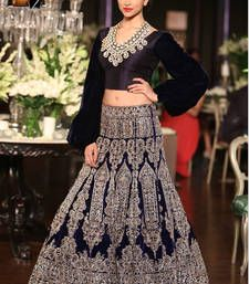 Buy Deepika Padukone Blue fancy Moss Wedding Lehengas bollywood-lehenga online