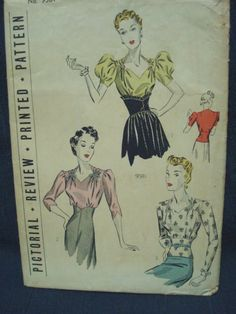 1930s Ladies' Blouses Sewing Pattern Sweetheart by kinseysue, $62.00