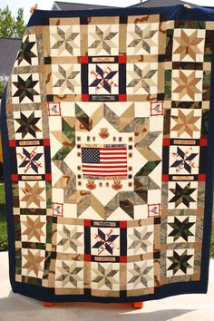 Memento quilt made from old military uniforms