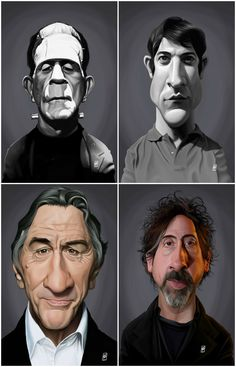 Cool Caricatures by Rob Art   Rob Snow - links for prints and other stuff (stickers apparel tapestry mugs pillows clocks sheets towels device cases cards shower curtains pouches etc.) below: Boris Karloff Dustin Hoffman Robert De Niro Tim Burton Albert Ei