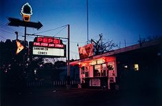 "fuckyeahvintage-retro: ""Burger Stand at night, 1970-73 © William Eggleston """