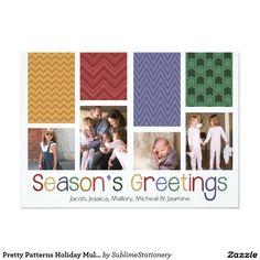 Pretty Patterns Holiday Multi Photo Flat Cards