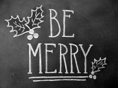 Be Merry Sign  - Framed Chalkboard Art - Rustic Christmas -: