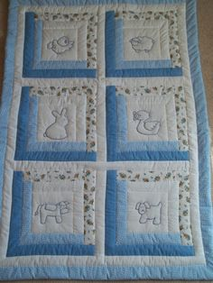 Blue Baby Log Cabin by snugglesandstitches on Etsy, $50.00