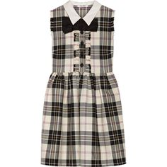 Miu Miu Bow-embellished tartan wool mini dress (3.350 BRL) ❤ liked on 2c0b3e2d085