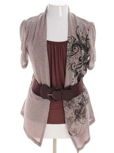 548f76187bc Plus Size Uptown Layered Sexy Belt Tan Top Trendy Plus Size