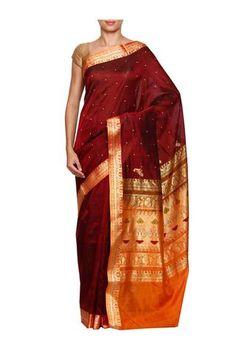 Brown daagina silk peshwai paithani saree