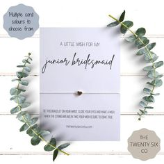Junior Bridesmaid Wish Bracelet | Bridal Party Gift | Wedding Party Presents | For more ideas, visit burghbrides.com! Flower Girl Bracelets, Wish Bracelets, Bridesmaid Bags, Bridesmaid Bracelet, Gifts For Wedding Party, Party Gifts, Wedding Favors, Thank You Gifts, My Flower