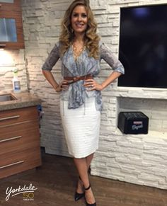 Monday, January 5th | Dina's outfit included: BCBGMAXAZRIA Grey and Navy Printed Blouse $344.00 & Cream Laser Cut Leather Skirt $287.00 FRENCH CONNECTION Gold Multi Chain Necklace $42.00 LOFT Tan Knotted Belt $39.50 Hudson's Bay Gold Bracelet $20.00 & COACH Black & Navy Pumps with Ankle Strap $178.00 (Last Season)