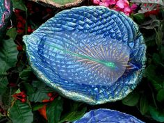 """Birdbath (fairy garden art and garden sculpture / statue) created from a live leaf (No. 5432, 9 x 7"""") - bee bath and butterfly colors by gardenwhimsies on Etsy"""
