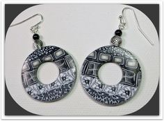 polymer clay Ethnic Mosaic Hoop Earrings handmade by BeadazzleMe, $16.00