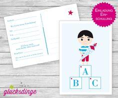 6 x Einladung zum ♥ SCHULANFANG ♥ ABC-Junge von j-designerie - FEINE DRUCKSACHEN auf DaWanda.com
