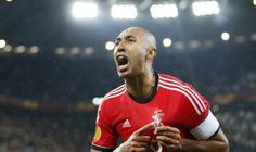 Benfica\'s Luisao celebrates at the end of the Europa League soccer match against Juventus at the Juventus stadium in Turin