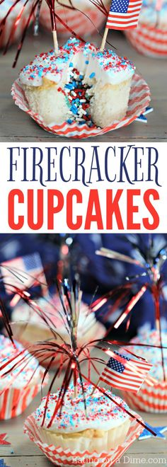 These quick and Easy 4th of July Cupcakes are so fun! These firecracker cupcakes are super fun with a surprise of sprinkles in the middle! Make this 4th of July dessert today!
