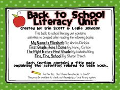 Back To School Literacy Unit  First Grade Fanatics