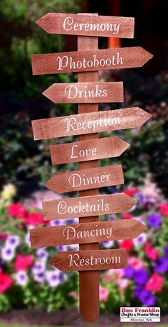 DIY Directional Signs for Weddings! Supplies available at our Ben Franklin Crafts store in Monroe, WA. Arrow Signs, Directional Signs, Garden Markers, Craft Stores, Wedding Signs, Craft Supplies, Herbs, Easter, Conference