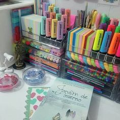 Stationary Organization, Home Office Organization, Craft Organization, Organizing, Study Room Decor, Cute Room Decor, Bedroom Decor, Small Desk Bedroom, Diy Organizer