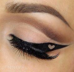 Eyeliner Inspiration: Black Winged Eyeliner with Heart Detail.