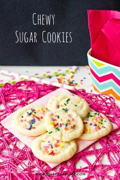 Chewy Sugar Cookies {Tastes of Lizzy T} These cookies are so simple, but tastes just like Pillsbury! http://www.tastesoflizzyt.com/2013/08/12/chewy-sugar-cookies/