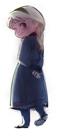 """Young Elsa from """"Frozen"""" - Art by akapost.tumblr.com"""
