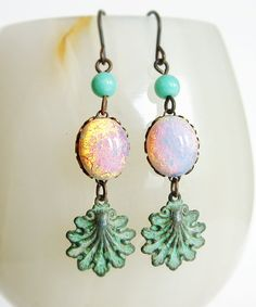 Fire Opal Glass Earrings Vintage Cabochons Verdigris by skeptis, $26.00