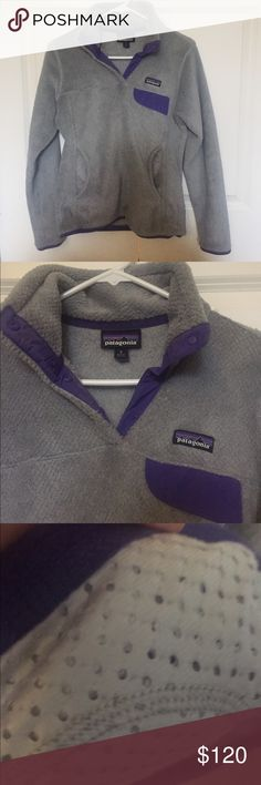 Patagonia Snap T Pullover Soft grey and purple accents. Like new. Small. Perfect condition. Selling because it's too warm. Patagonia Jackets & Coats