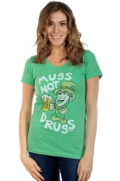 """Women's """"Mugs Not Drugs"""" St Patty's Day Shirt :: Drink up and support your local brewery! :: $24.95"""