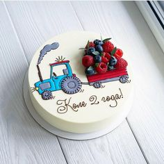 Another representative of the vehicle with berries🚜😊. 🌿 Assortment and prices here 👉 Cooking Cake. Pretty Cakes, Cute Cakes, Fondant Cakes, Cupcake Cakes, Decoration Patisserie, Bolo Cake, Baby Birthday Cakes, Baby Cakes, Cooking Cake