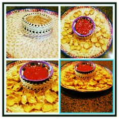 Mexican Dip holder! You take a sombrero and push in the point of it! And you put your chips on the out side as dip in the middle!