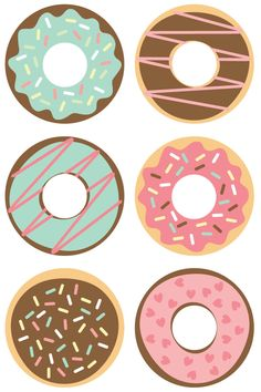 Donut Cut Files + Clip Art - Freebie Friday Celebrate National Donut Day (or any day!) with these free donut SVG / DXF cut files and PNG clip art! Nine yummy designs for all of your projects. Donut Birthday Parties, Donut Party, Birthday Games, 5th Birthday, Donut Decorations, Birthday Party Decorations, Scrapbook Kit, Vogel Clipart, Planner Stickers