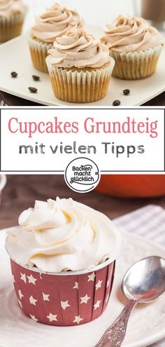 Ein Cupcakegrundteig, viele leckere Möglichkeiten: Dieses einfache Cupcake-Grun… A Cupcakegrundteig, many delicious options: This simple Cupcake basic recipe with frosting can be wonderfully change – whether with chocolate or nuts, fruits or spices. Cupcakes Oreo, Cupcake Frosting, Cupcake Recipes, Baking Recipes, Lemon And Coconut Cake, Zucchini Cake, Salty Cake, Savoury Cake, Food Cakes