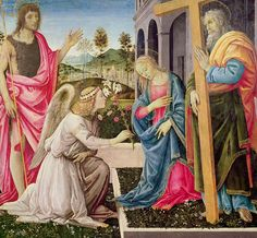 Annunciation Painting - Annunciation With Saint Joseph And Saint John The Baptist by Filippino Lippi